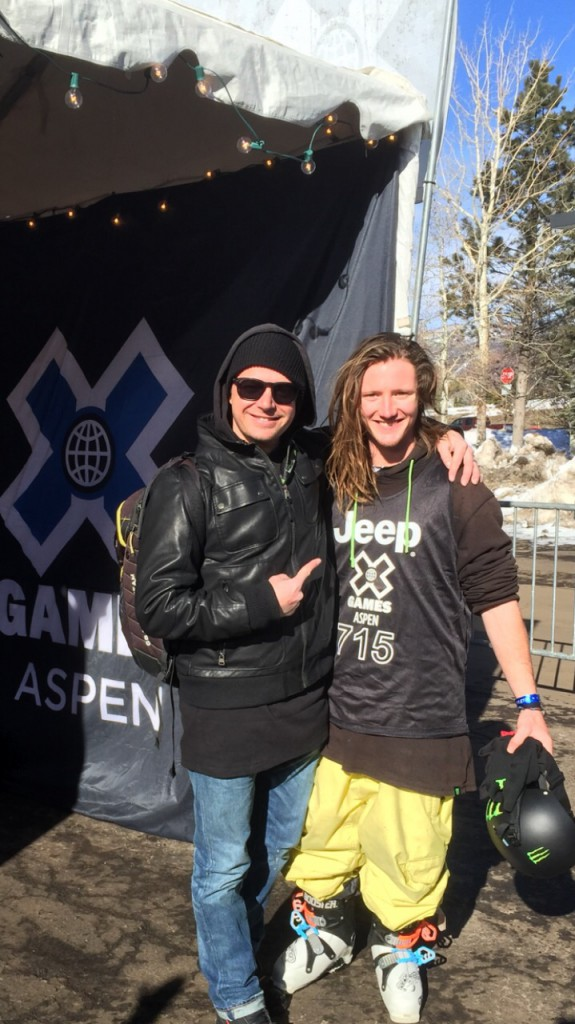 James Woodsy Woods with coach Pat Sharple at X Games 2015 - Credit Team BSS