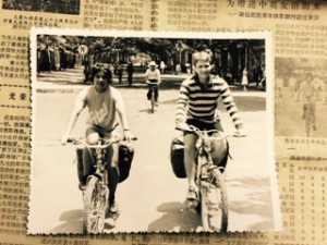 Tania on her bike in China in 1984