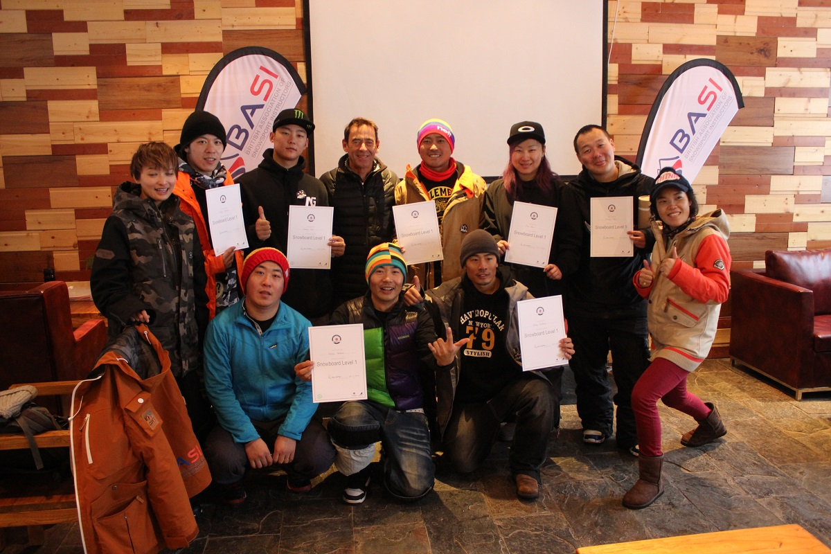 BASI's first group of students to complete their Snowboard Level 1 in Chongli, China