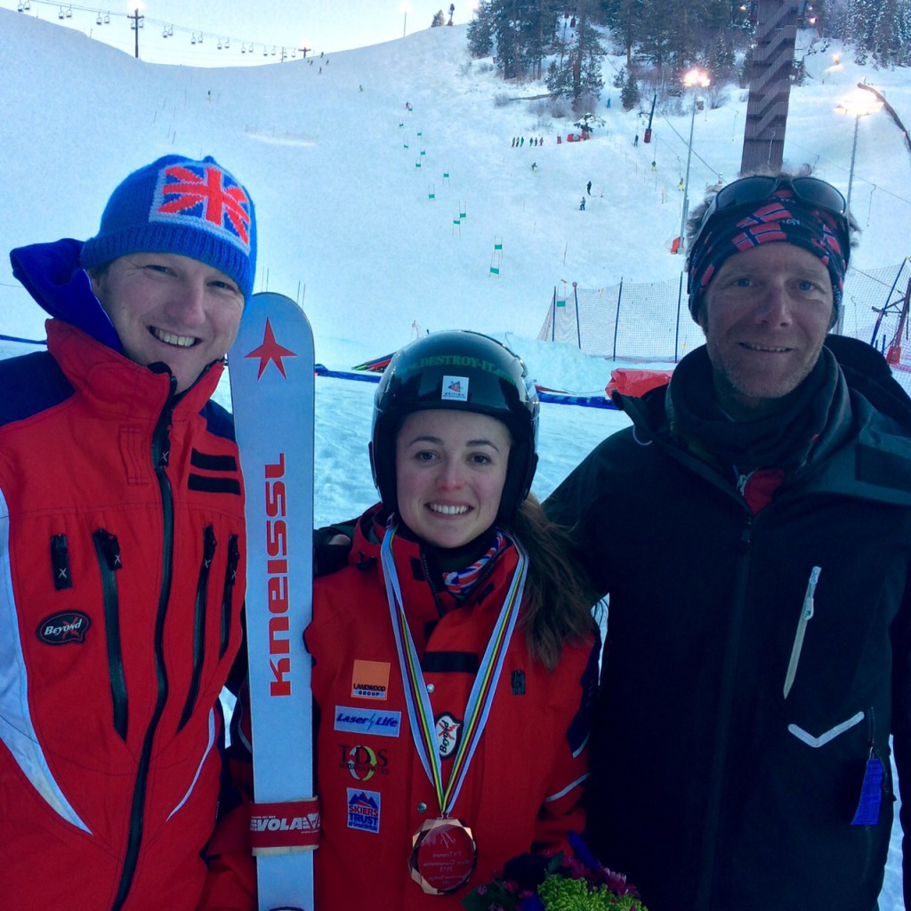 Jasmin Taylor GBR_Andrew Clarke FIS Telemark Chairman GBR_Seb Mansart Jasmins coach FRA (4)