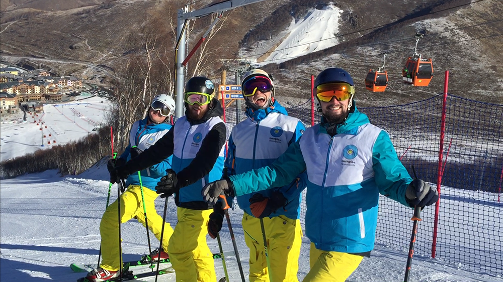 Some of Imagine's instructors (half of which are BASI) at a future host site of the 2022 Winter Olympics, near Beijing.